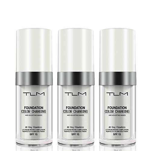 3PACK TLM Concealer Cover Cream, Flawless Colour Changing Warm Skin Tone Foundation Makeup, Base Nude Face Liquid Cover Concealer