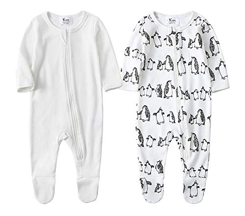 O2Baby Baby Boys Girls Organic Cotton Zip Front Sleeper Pajamas, Footed Sleep 'n Play(6-12Months,Ivory Stretch+Penguin)