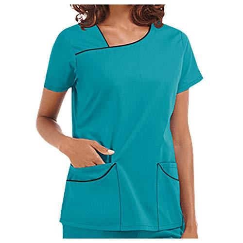 Writtian 2021 Neujahr Kasacks Damen Pflege Bunt große größen Uniformen Schlupfkasack Berufsbekleidung Schlupfhemd Uniform mit Motiv