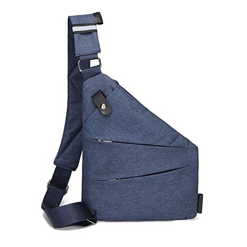 Casual gun bag men's messenger bag storage simple chest bag close-fitting Oxford cloth chest bag-Left shoulder blue