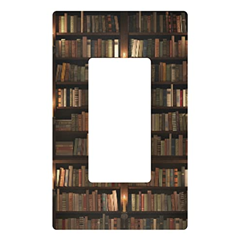 Decorative Light Switch Wall Plate - Two Storied Bookshelf Mysterious Library with Candle Lighting Outlets Switch Plate Cover, Electrical Outlet Covers for Bedroom Kitchen Home Decor