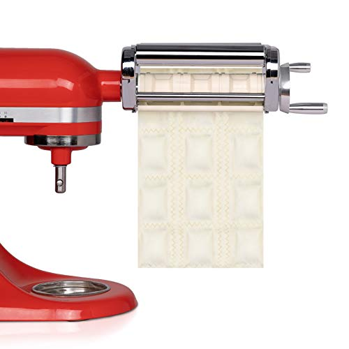 X Home Ravioli Cutter Attachment, Manual Pasta Maker Machine, Stainless Steel Square Ravioli Maker Compatible with All KitchenAid Household Stand Mixers