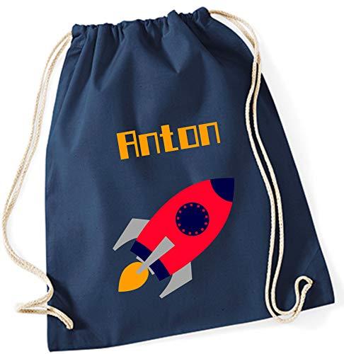 Turnbeutel mit Namen   Motiv Rakete Weltraum   personalisiert & Bedruckt   Zuziehbeutel & Rucksack für Kinder Jungen   inkl. NAMENSDRUCK   hell-blau rot (dunkelblau)