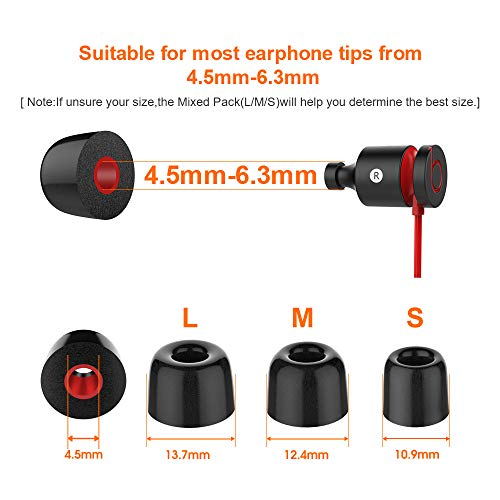12 Pieces Replacement Ear tips for Powerbeats 2 Link Dream Premium Memory Foam Earbuds Tips Updated Dustproof Durable Noise Reducing Eartips for Most 5-6.3mm In-Ear Earphones