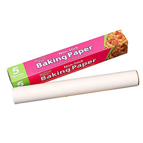 DingGreat Papel de pergamino para hornear, Papel de aceite de silicona de doble cara antiadherente para hornear, cocinar, freír, pan, galletas, barbacoa, fiesta (20m)
