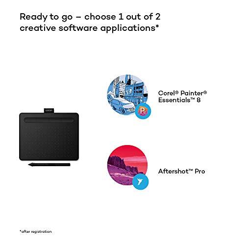 Wacom Intuos S Stift-Tablett - Mobiles Zeichentablett (zum Malen & für Fotobearbeitung mit druckempfindlichem 4K Stift & 1 Softwaredownload) schwarz - Ideal für Home-Office & E-Learning