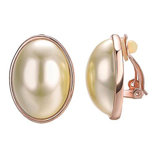 Yoursfs - Orecchini a clip grandi placcati in oro rosa con perla coltivata bianca semiovale per donna, regalo per San Valentino, anniversario, matrimonio