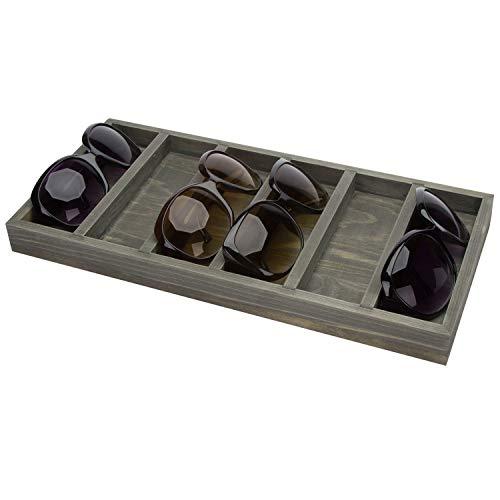 MyGift Vintage Gray Wood 6-Slot Sunglasses Storage Organizer Case Eyewear Retail Display Tray