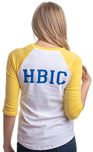 HBIC | Head Bitch in Charge playera de béisbol para mujer adolescente Vixen amarilla, Amarillo, M