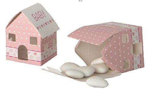 12piezas cajita papel portaconfetti Casa Casita Rosa BOMBONIERA nacimiento niña