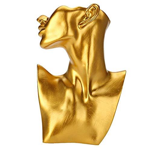 Pongnas Mannequin Sieraden Display Stand, Ketting en Oorbellen Bust Sieraden Display (Groot Goud)