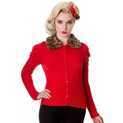 Banned Damen Retro Strickjacke mit abnehmbarem Leo Kunstfellgkragen - Vintage Leoparden Fellkragen Cardigan aus Viskose Uni Rot (M)