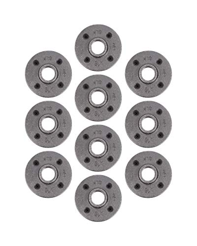 Pipe Decor 3/4' Malleable Cast Iron Floor Flange 10 Pack, Industrial Steel Grey Fits Standard Three Quarter Inch Black Threaded Pipes Nipples and Fittings, Vintage DIY Furniture, Ten Plumbing Flanges