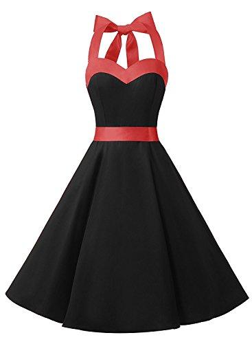 DRESSTELLS Damen Neckholder 1950er Vintage Retro Rockabilly Kleider Petticoat Faltenrock Cocktail Festliche Kleider Black S