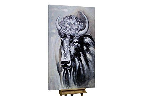 KunstLoft® XXL Gemälde 'Snow-Covered Bison' 120x180cm | original handgemalte Bilder | Stier Bison Tier Beige Schwarz | Leinwand-Bild gemälde einteilig groß | Modernes Kunst Bild
