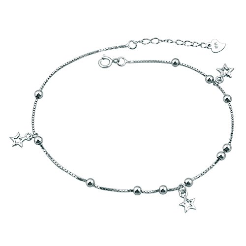 UNIQUEEN Women Body Jewellery Sexy 925 Sterling Silver Simple Barefoot Star Shape Foot Anklet for Girls Ladies