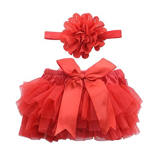 bestoyard Baby Rock Tutu Ropa con flores cinta niña recién nacido Disfraz Fotografía Requisiten (Rojo), rojo, medium