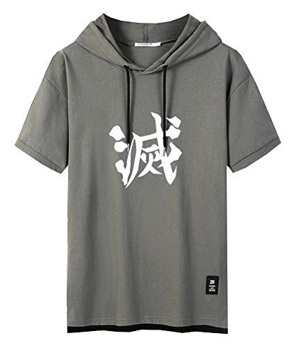 Cosstars Anime Demon Slayer Kimetsu No Yaiba Kapuzenpullover Hoodie T-Shirt Herren Kurzarm Sweatshirt Hip Hop Jersey Tee Tops Green-1-3XL