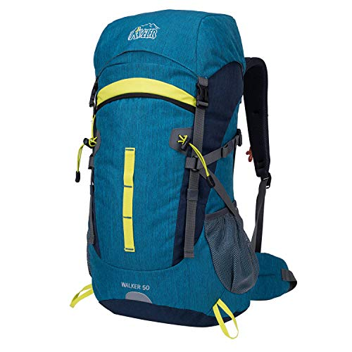 Aveler 50L Unisex Lightweight Internal Frame Backpack; High-Performance Backpack with Rain Cover for Travel, Hiking, Camping -Cyan