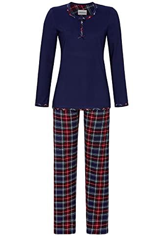 Ringella Damen Pyjama mit Zierknopfleiste Marine 40 1511243,Marine, 40
