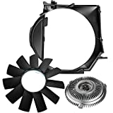 A-Premium Engine Radiator Cooling Fan Shroud Fan Blade and Fan Clutch Compatible with BMW E46 3 Series 1999-2006 3-PC Set