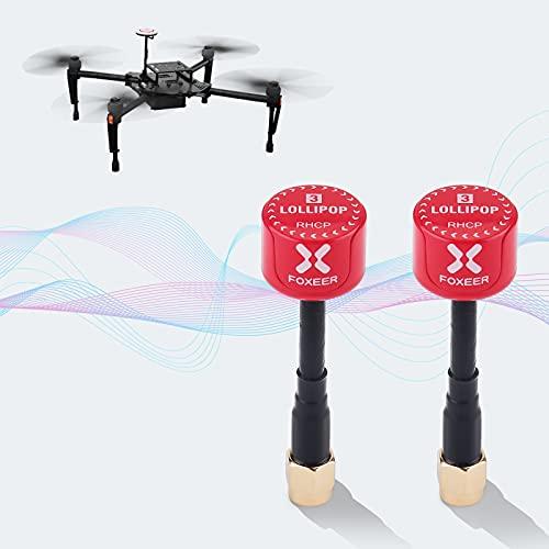 2pz Foxeer Lollipop FPV Antenna 5.8G 2.3dBi RHCP Super Mini TX Antenna RX RP-SMA Maschio per RC FPV Drone (Rosso)