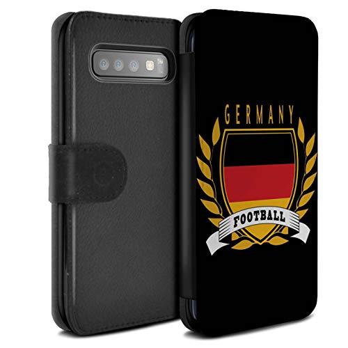 eSwish PU Pelle Custodia/Cover/Caso/Portafoglio per Samsung Galaxy S10 / Germania/Tedesco/Emblema del Calcio Disegno