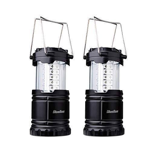Dieailles -Lote de 2 lámparas Plegables LED, Impermeable, de Dos Piezas, superbrillante, Ideal para campin, Senderismo, Pesca, etc, Color Negro