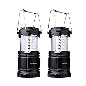 Dieailles -Lote de 2 lámparas Plegables LED, Impermeable, de Dos Piezas, superbrillante, Ideal para campin, Senderismo, Pesca, etc, Color Negro