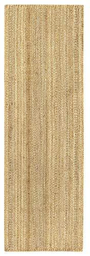 HAMID - Alfombra de Yute Granada 100% Fibra de Yute Natural - Alfombra Suave - Tejida a Mano - Alfombra de Salón, Comedor, Dormitorio, Pasillos, Entrada - Natural (250x80cm)