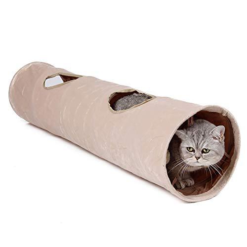 LeerKing Katzentunnel Katzenspielzeug Faltbar Spieltunnel Rascheltunnel für alle Katzen und kleine Tiere 2 Höhlen 120 * 25cm