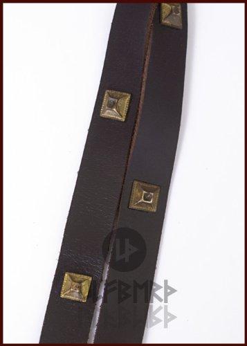 Langer Mittelalter Gürtel aus Leder mit Ziernieten – LARP Wikinger Mittelalterkostüm - 2