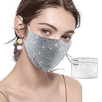Sparkle Face Mask for Girls Women Sparkly Bling Reusable and Washable Nightclub Halloween Party Masquerade with 2 Carbon Filter  silver