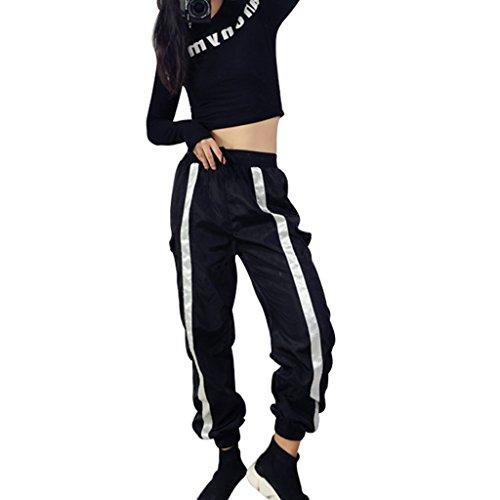 Brilliant firm Filles Hip-hop Vent lâche Mince Bande frappé Couleur Harem Pantalons étudiants Sauvages Danse Pantalons décontractés (Color : Black, Size : S)