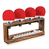 Sunix Ping Pong Paddle Storage Rack Table Tennis Racket Display Wall Mounted Holder for 4 Paddles and Balls...