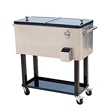 Tenive 80-quart Stainless Steel Patio Cooler Portable Ice Cooler Cart Rolling Party Drink Entertaining Outdoor Cooler Cart - Silver
