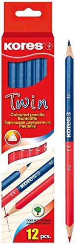 Herzen 3 Etuis 12 Buntstifte TWIN, blau/rot, dreieckig
