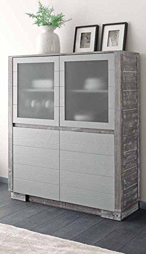 Buffet vitrine 2 portes en verre 2 portes en bois massif Design moderne