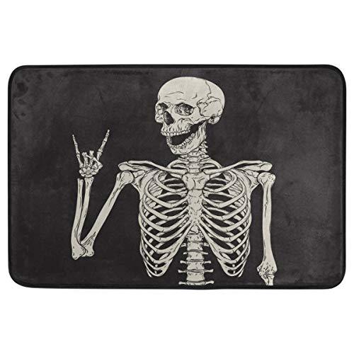 Halloween-Fußmatte, Hausdekoration, rutschfest, waschbar, Rock and Roll, Skelett-Totenkopf, Boho, Hippie, für den Innen- und Außenbereich, Badezimmer-Fußmatte, Halloween-Party-Dekoration, 60 x 40 cm