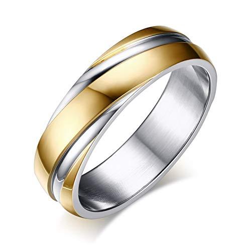 ERDING Unisex/Verlobungsring/Freundschaftsring/Ehering für Frauen Männer Edelstahl Schwarz Rose Gold Farbe Freies Samtbeutel Geschenk