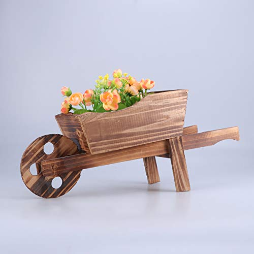 Yardwe Garden Plant Planter Wooden Wagon Planter Wheelbarrow Decoration for Indoor Outdoor (45x19x20cm