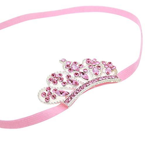 EROSPA® Baby Haar-Band Stirnband mit Krone/Diadem - Mädchen Kopfschmuck - rosa