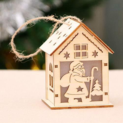 Phayee Kerstmis geleide licht houten huis, kerstboomversiering voor hangende hoofdversiering feestdagen, kerstdecoratie