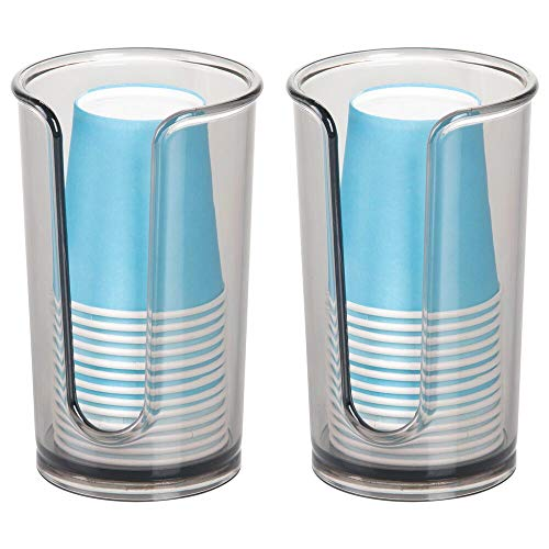 mDesign Modern Plastic Compact Small Disposable Paper Cup Dispenser - Storage Holder for Rinsing Cups on Bathroom Vanity Countertops, Cups Included - 2 Pack - Smoke Gray