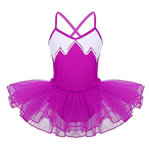 YiZYiF Ballettkleid Mädchen Träger Ballett Trikot Body Ballettanzug mit Mesh Tütü Rock Kinder Ballettkleidung Gr. 116 122 128 140 152 164 Rose 134-140