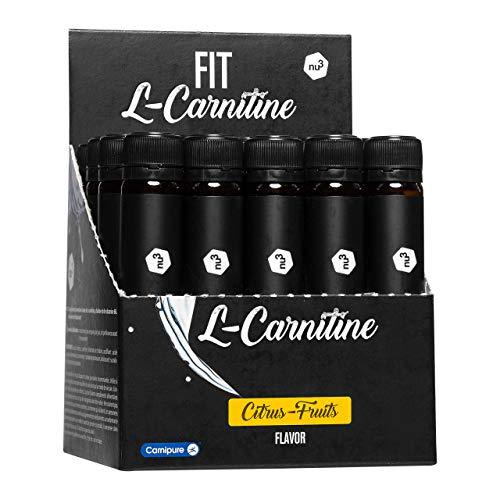 nu3 Fit L-Carnitina líquida - L carnitina pura de absorción rápida - 950 mg Carnipure por shot - Suplemento vegano quemagrasas - 20 ampollas de alta calidad - Sabor Frutal a Cítricos