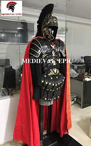 Set di corazza con armatura muscolare nera romana con spalle, casco e tunica