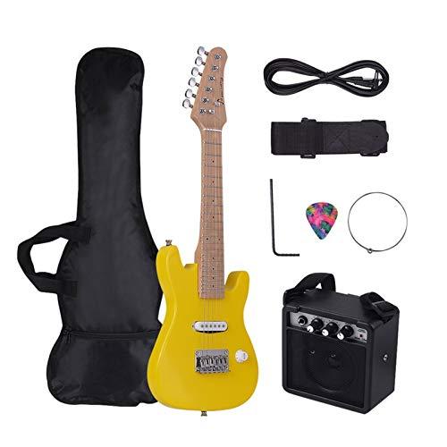 Male god 21 Saiten 6 Saiten E-Gitarre Massivholz Paulownia Korpus Und Ahornhals, Mit Gitarrenteilen Und Zubehör Für Lautsprecher Erforderlich (Color : Yellow Children)