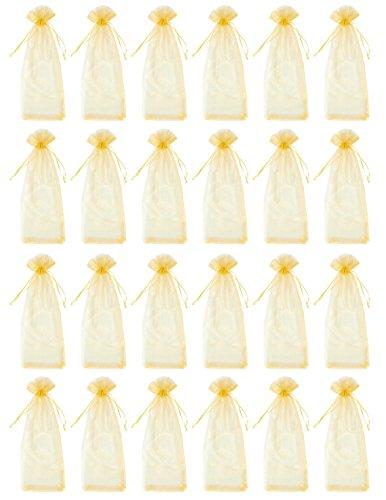 Juvale - 24 stuks organza zakjes voor wijn met trekkoord - te gebruiken als geschenkverpakking of voor decoratie in de etalage, bij feestjes of andere gelegenheden, 4 kleuren 37,3 x 13 cm