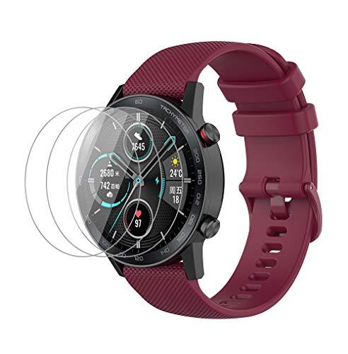 NOKOER Correas para Honor Magic Watch 2 46mm, [2 in 1] TPU Silicona La Correa + 3 Piezas Protector de Pantalla, [Resistente al Desgaste] [Transpirable] Pulsera para Honor Magic Watch 2 46mm - Rojo